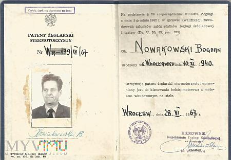 B.Nowakowski - Patent żeglarski stermotorzysty