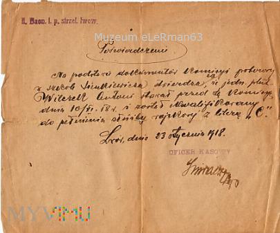 Duże zdjęcie Poświadczenie 1 p.strzel.Lwow./ 38 PPSL. Lwów 1918
