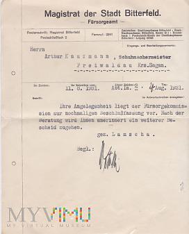Duże zdjęcie 24.08.1931 Magistrat der Stadt Bitterfeld