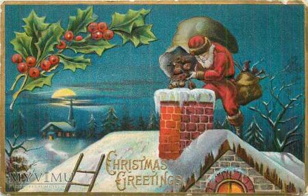 Mikołaj wrzucający prezenty świąteczne przez komin