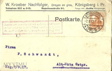 W. Kroeber Nachfolger Konigsberg - 1920 r.