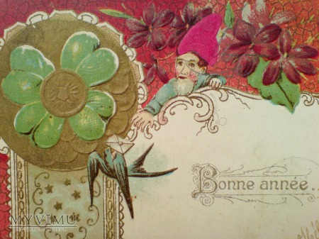 1905 NOWY ROK Krasnal czterolistna koniczynka