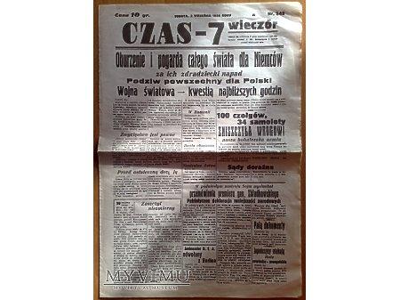 Duże zdjęcie Gazeta codzienna CZAS - 7 z 2 września 1939 r.
