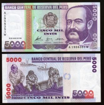 Peru - P 137 - 5000 Intis - 1988
