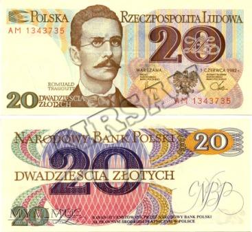 Banknot 20 zlotych 1982 r