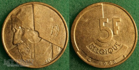 Belgia, 5 Francs 1986