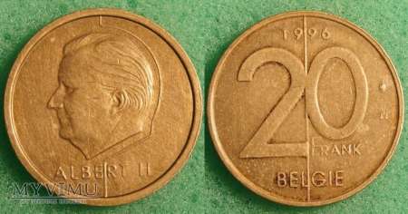 Belgia, 20 Francs 1996