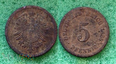 Niemcy, 1889, 5 Pfennig