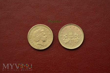 Duże zdjęcie Moneta brytyjska: 5 pence 2005