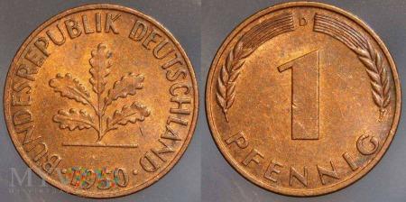 Niemcy, 1950, 1 PFENNIG