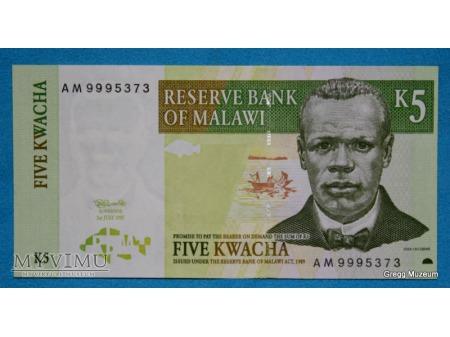 5 KWACHA MALAWI 1989