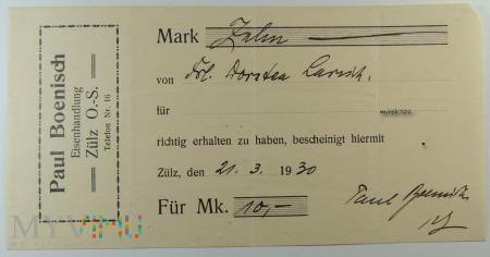 Quittung Paul Boenisch Eisenhadlung Zülz O.S. 1930
