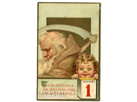 Ojciec Czas Nowy i Stary Rok Pocztówka 1 stycznia