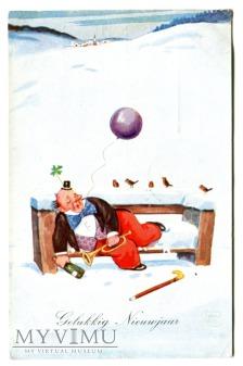 1934 Nowy Rok po holendersku balonik pocztówka