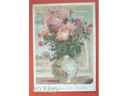 Duże zdjęcie Pocztówka PRL Kwiaty imieninowe w wazonie