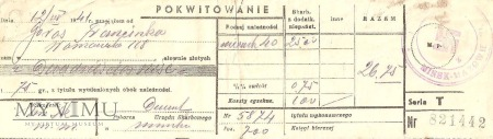 Pokwitowanie 1941
