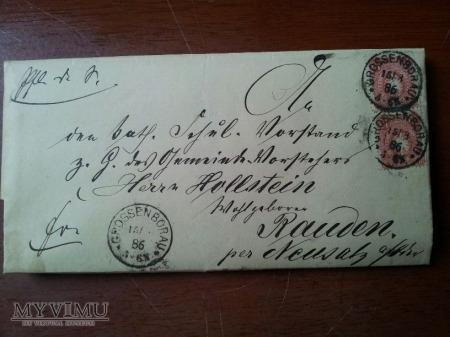 Koperta Borów Wielki - Rudno 1886 r.