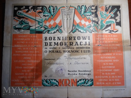 Duże zdjęcie Dyplom Żołnierzowi Demokracji
