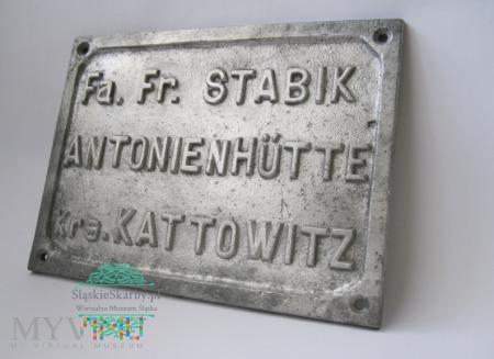Antonienhutte - Kattowitz - Tablica znamionowa