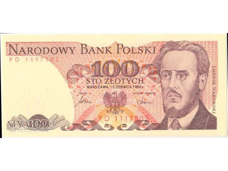 100 złotych 1986 rok seria PD