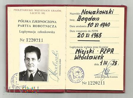 B.Nowakowski - legitymacja partyjna PZPR