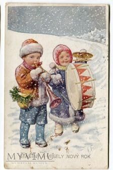 Szczęśliwego Nowego Roku Zima i Dzieci lata. 20-te