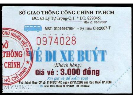 Bilet autobusowy z Wietnamu.