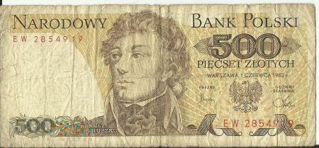 Banknot 500 złotych 1 czerwca 1982