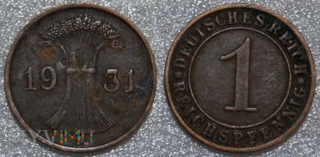 Niemcy, 1931, 1 Reichspfennig