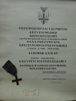 Dyplom Krzyża Niepodległości