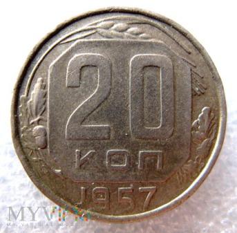 Duże zdjęcie 20 kopiejek - 1957 r. Rosja (Związek Radziecki)