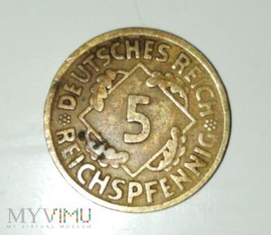 Duże zdjęcie 5 Reichspfennig 1925 rok