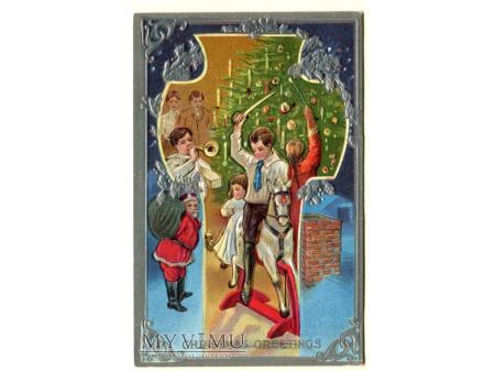 Duże zdjęcie c. 1910 Święty Mikołaj i konik na biegunach Święta