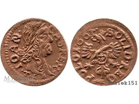 szeląg koronny 1663 4