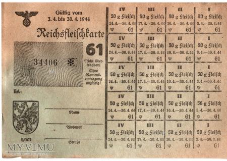 Reichsfleischkarte 61 1944