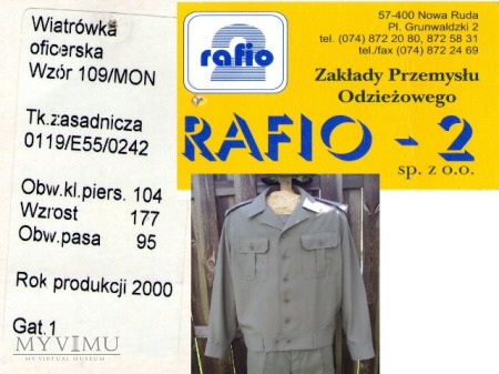 Wiatrówka oficerska wz. 109/MON RAFIO-2
