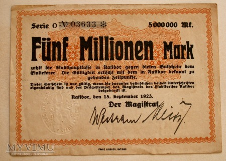 Pieniądz Zastępczy 5 mln marek- seria O