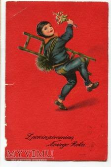 c. 1920 Nowy Rok Kominiarz na szczęście AMAG