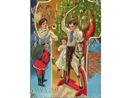c. 1910 Święty Mikołaj i konik na biegunach Święta