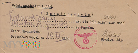 Przepustka ?. Deutsch Przemyśl 1939 r.