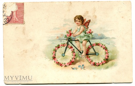 Aniołek na rowerku - rower stara pocztówka