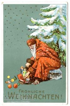 c. 1910 Święty Mikołaj i zabawki + choinka