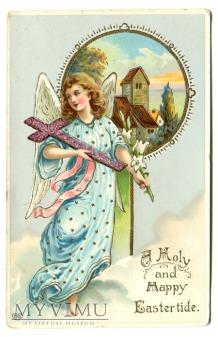 Anioł z krzyżem WIELKANOC Chromolitografia