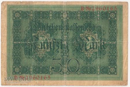Darlehenskassenschein 1914-1922 ; 50 Mark 1914 rok