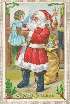 circa 1910 Mikołaj ,dziewczynka i wór z prezentami
