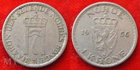 Norwegia, 1 Krone 1956