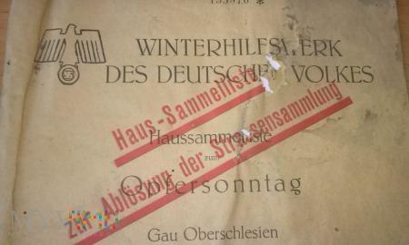 Duże zdjęcie WHW 130 dokument Gau Oberschlesien