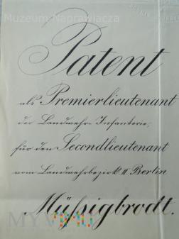 Patent oficerski z 1895 roku.