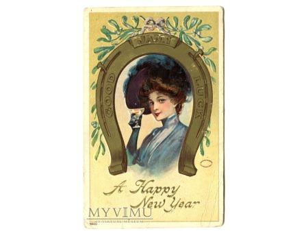Duże zdjęcie 1911 NOWY ROK podkowa szczęścia i szampan
