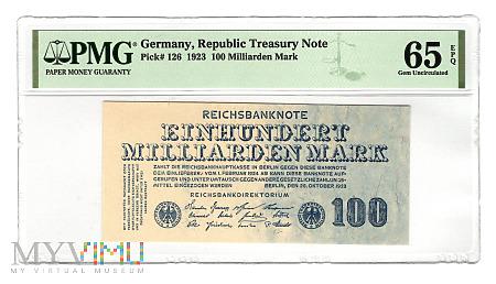 Niemcy - 100 miliardów marek, 1923r. PMG 65 EPQ